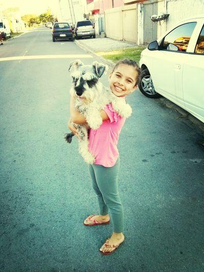 """Minha linda filha e meu dog """" buster"""""""