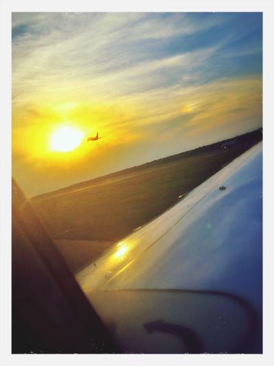 Sun shining through airplane