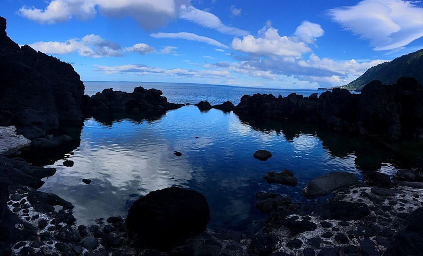 Piscinas naturais Portugal Azores Reflection Rock - Object Cloud - Sky Sky Water Scenics Nature Landscape Tranquility Beauty In Nature Tranquil Scene Blue Sea No People Outdoors Horizon Over Water