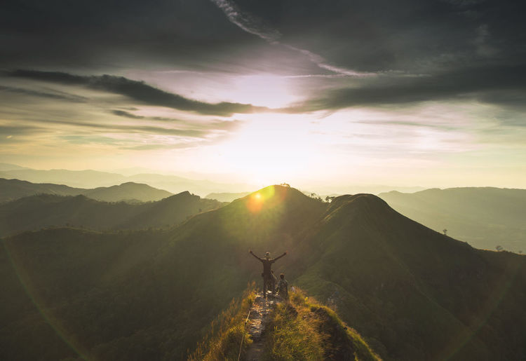 The world is mine Adventure Beauty In Nature Day Men Mountain Nature One Person Outdoors People Real People Scenics Silhouette Sky Sun Sunlight Sunset Let's Go. Together.