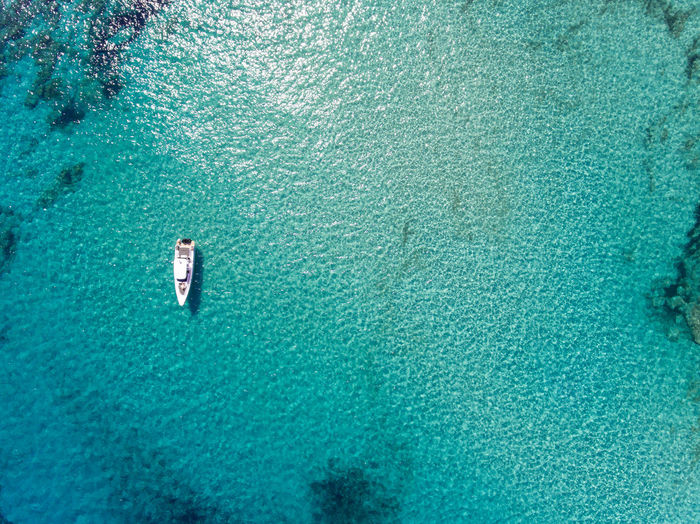 the lonely boat Aerial Photography Aerial Shot Aerial View Backgrounds Blue High Angle View Mediterranean Sea Nature No People Outdoors Sailing Sea Vessel Water