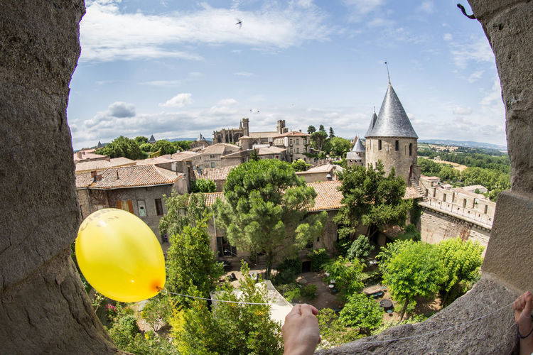 In a fortress Architecture Balloon Carcassone, France Castle View  Famous Places Medieval Travel Destinations Travel Photography