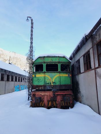 Snow Winter Cold Temperature Sky Built Structure Building Exterior No People Outdoors Architecture Day Nature Train Transportation Abandoned Station Old Canfranc Canfrancestacion