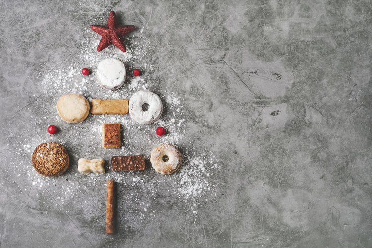 Directly above shot of cookies on christmas tree