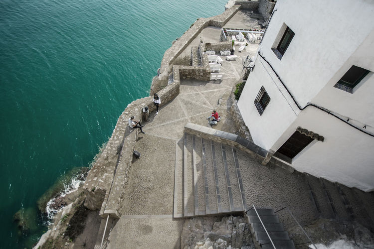 High angle view of building by sea