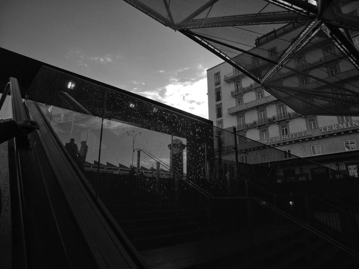 Escalator, Naples Italy Built Structure Architecture Sky No People City Blackandwhite