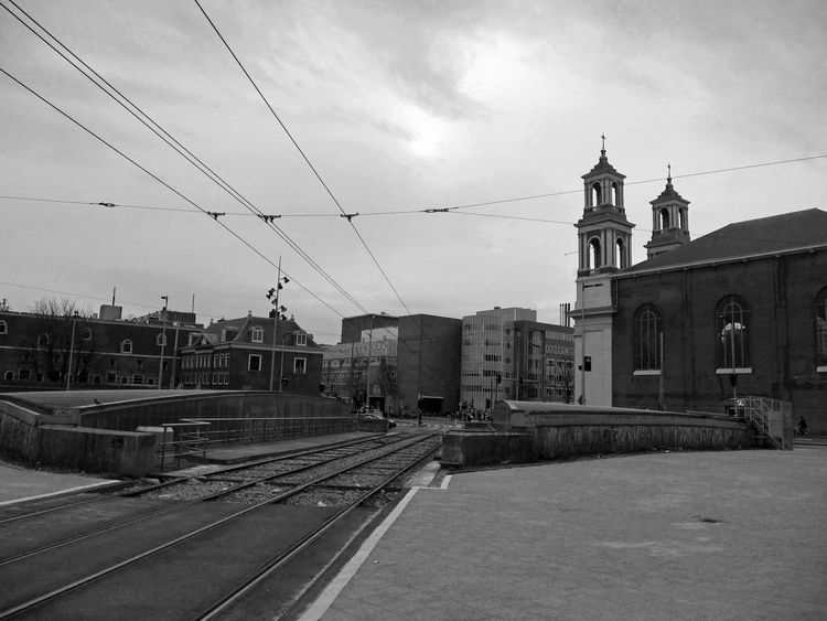 Amsterdam Black And White Building Church City Square Rails Urban