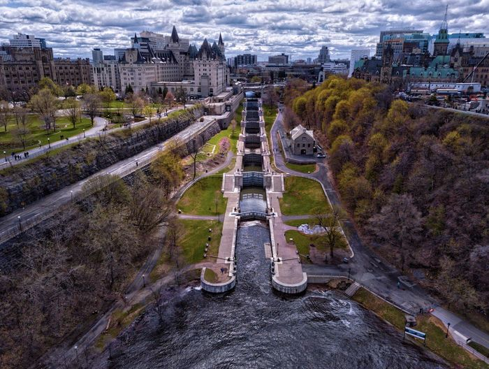 Rideau canal ottawa on canada boat locks next to the parliament builds