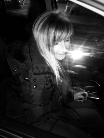 Street lights Style Night Portrait Me Blackandwhite Monochrome Cold Lights #Winter Real People One Person Sitting Lifestyles Illuminated Women