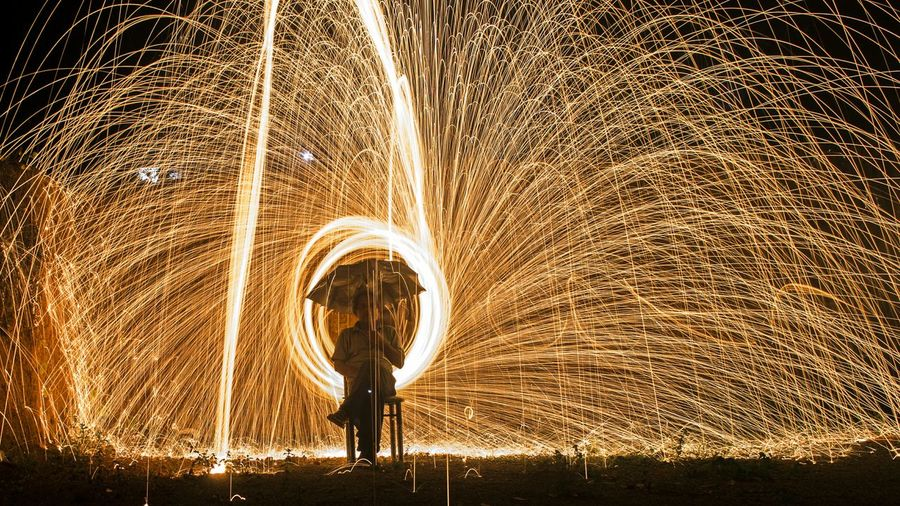 Gold Colored No People Performance Wire Wool Night Nightphotography Fresh On Eyeem  EyEmNewHere Slowshutter Light Painting