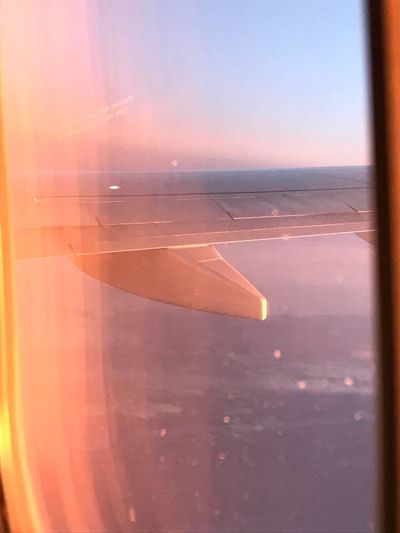 Sunset flight EVENING FLIGHT Colours Of Sunset Evening Glow Cabin Window Journey Airplane Travel Airplane Wing Flying