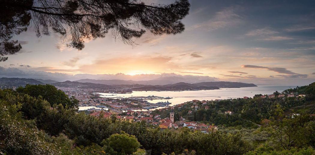 Good morning La Spezia Architecture Beauty In Nature Building Exterior City Cloud - Sky Environment Growth High Angle View Landscape Liguria Mountain Nature No People Outdoors Plant Scenics - Nature Siena Sky Sunset TOWNSCAPE Tranquil Scene Tranquility Tree