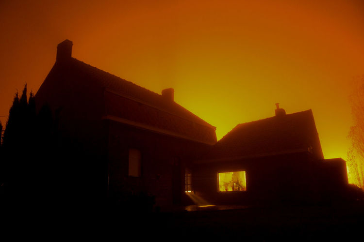 the sky's on fire Architecture Building Eyem Misty Day Fog Fog_collection House Light Outdoors Residential Structure Sky Streelight