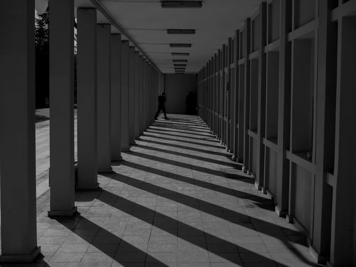 Monochrome corridor and columns perspective view Arcade Architectural Column Architecture Building Built Structure Colonnade Corridor Day Diminishing Perspective Direction In A Row Indoors  One Person Pattern Railing Real People Staircase Sunlight The Way Forward Tiled Floor Walking