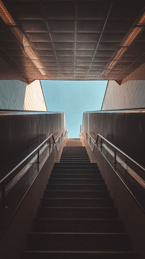 Low angle view of steps in subway