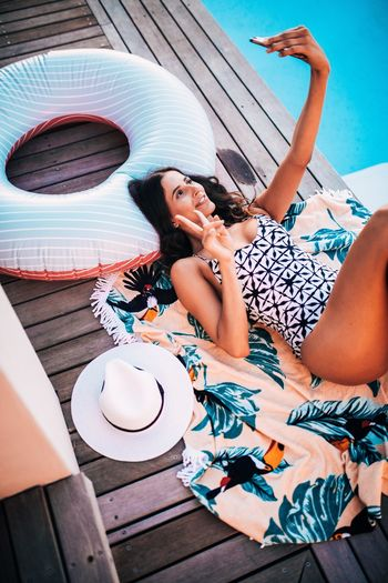 Bikini Holiday Hotel Laying Down Peace Relaxing Selfie Swimming Pool Swimwear Woman Women