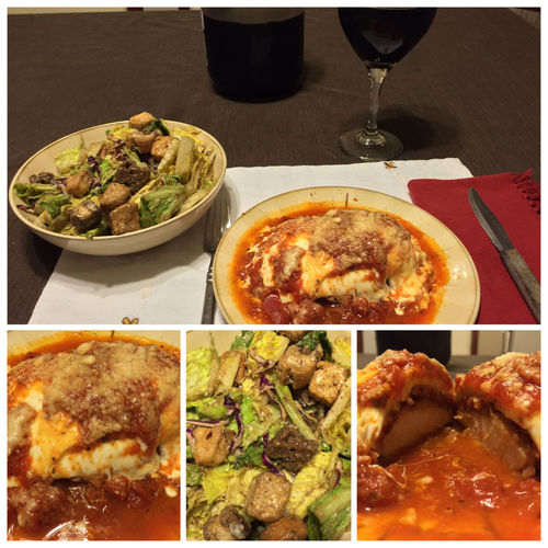 Tonight I made Chicken Parmesan with a salad and a few glasses of my homemade 2012 Californian Burgundy wine. ICanCookMyAssOff Nomnombomb TheExpensiveWinos MyFoodPics ItsAnItalianThing