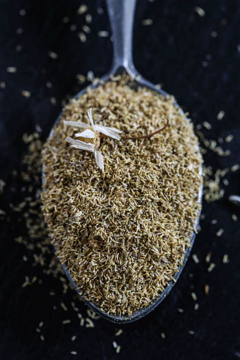 Dried chamomille flowers Chamomille Ingredient Food And Drink Food Spoon Close-up No People Still Life High Angle View Healthy Eating Seed Raw Food Matricaria Chamomilla Dried Plant Dried Flower