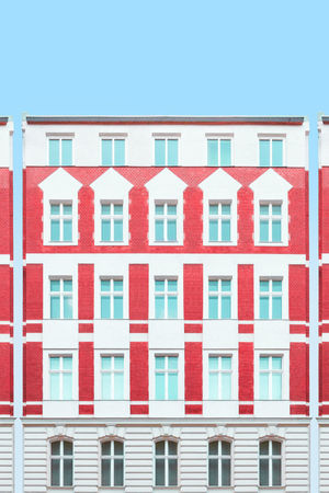 Kreuzberg Doll Houses Architecture_collection Berlin City Life Cityscape Elevation Gradient Reflection Urban Geometry Apartments Architecture Building Exterior Built Structure Clear Sky Day Doll House No People Outdoors Pastel Red Repetition Residential Building Urban Symmetry Window The Graphic City