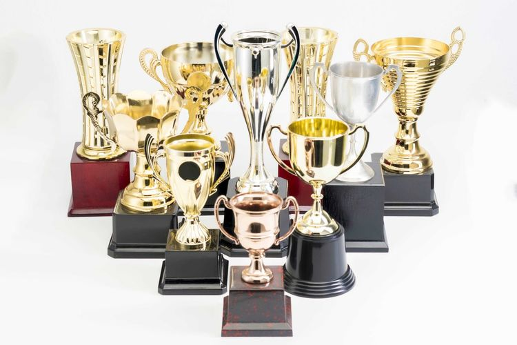 Variety of Trophy Cup on white background Trophy AWARD Winning Success Achievement Studio Shot Medal Metal Still Life Gold Colored Indoors  Shiny No People White Background Competition Silver Colored Sport Pride Large Group Of Objects Group Of Objects