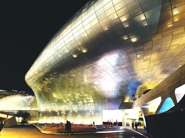 DDP Illuminated Night Large Group Of People Architecture Built Structure Modern Women Travel Destinations Real People Futuristic City