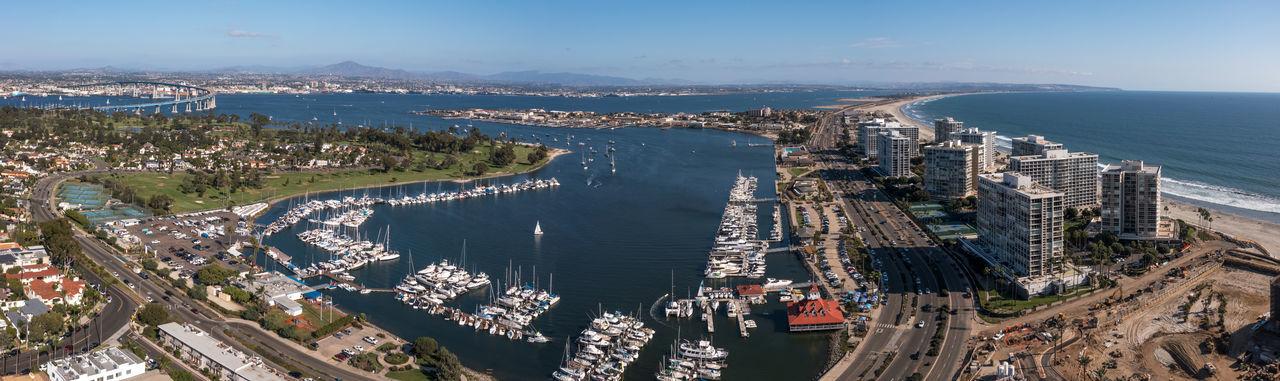 Panorama of boats, military housing and silver strand in coronado, california .