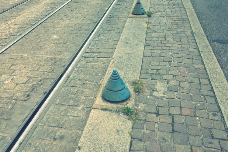Tramway rails High Angle View Day Cobblestone Outdoors The Way Forward Railroad Track No People Chess Piece Nature Chess Cityscape First Eyeem Photo Streetphotography Tramway Railroad Track