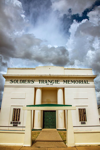 Australia Memorial Trangie Architecture Australia & Travel Building Exterior Built Structure Cloud - Sky Communication Day Low Angle View Monument No People Outdoors Sky Text