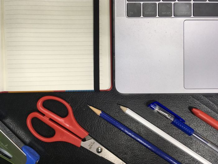 Notebook Paper White Blue Stapler No People Indoors  Variation Directly Above Choice Close-up Still Life Arrangement Communication Work Tool Red Day Tool Metal Large Group Of Objects Scissors Hand Tool Art And Craft
