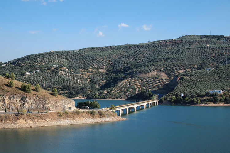 View on a bridge over the lake of Iznájar, Spain Andalucía Andalusia Green SPAIN South Spain Sunny Blue Blue Sky Bridge Bridge - Man Made Structure Clear Sky Day Europe Iznajar Lake Mountain No People Outdoors Scenics Tourism Vacation Water