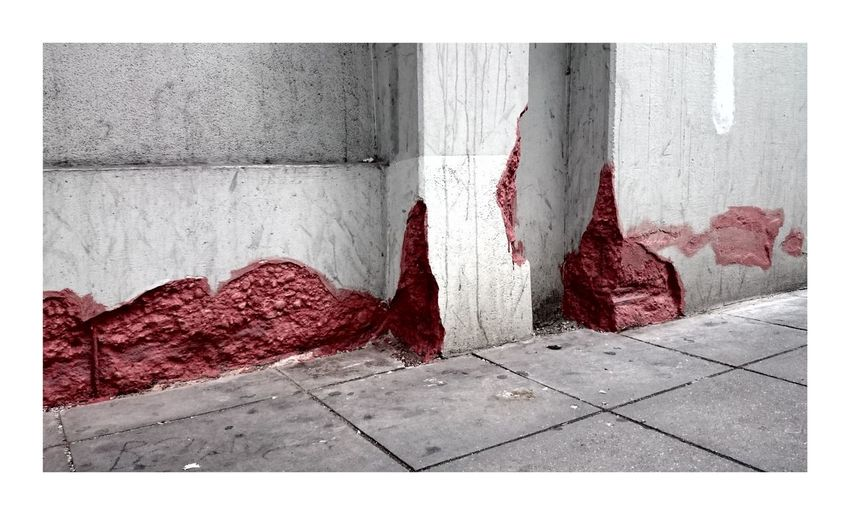 Transfer Print Red Paving Stone Red Color No People Walking Around Taking Photos Urban Scene Building Streetart Streetphotography Blood Building Exterior Just Taking Pictures Wall Simplicity Outdoors Bright