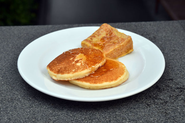 Pancakes and french toast breakfast Breakfast French Toast Khao Yai Thailand Bread Close-up Day Food Food And Drink Freshness Indoors  No People Pancakes Plate Ready-to-eat Toasted Bread