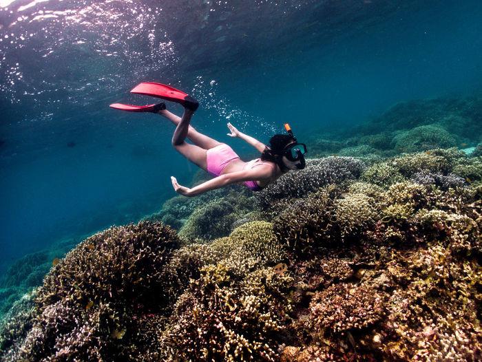 Freediver teen girl