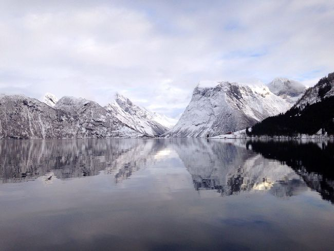 Fjord Mountains Mirror Moments Taking Photos Sky Winter Snow Water Reflections Reflection Magic Light At Home Norway
