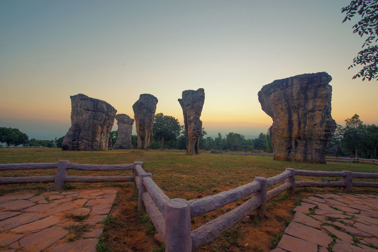 Mor Hin Khao Rocks in Chaiyaphum district, Thailand Mor Hin Khao Beauty In Nature Chaiyaphum Clear Sky Day History Landscape Nature No People Outdoors Rocks Scenics Sky Sunrise Tranquil Scene Travel Destinations
