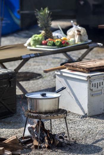 Food being prepared outdoors