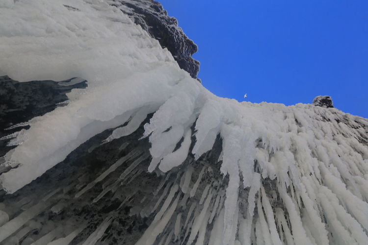 Low angle view of snow covered mountain against clear sky