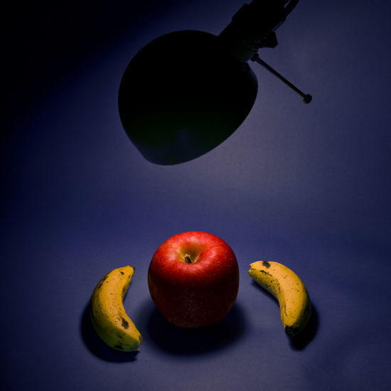 An apple and two bananas. Banana Red Silhouette Vegetarian Apple - Fruit Apples Banana Food Food And Drink Fruit Healthy Eating No People Red Still Life Still Life Food Still Life Fruit Studio Shot Togetherness Vitamin Yellow
