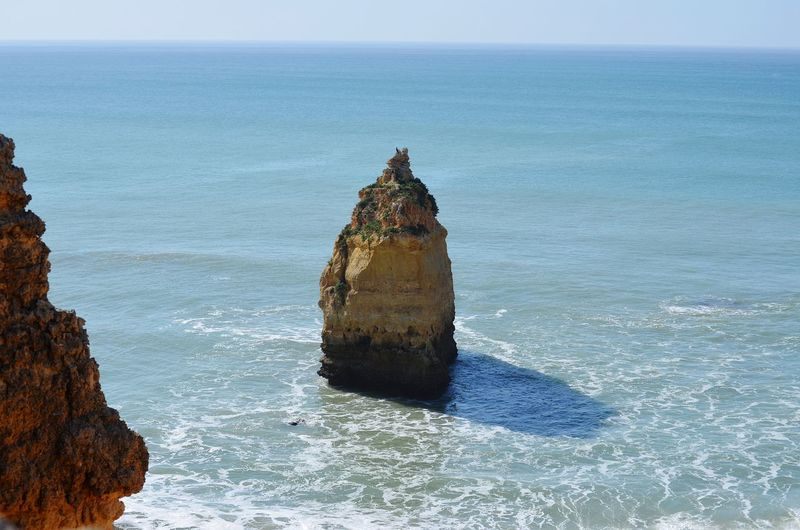 The rock Atlantic Ocean Praia Da Marinha Portugal Algarve Water Sea Beach Sky Horizon Over Water Rock Formation Ocean Rocky Coastline Coast Calm Tranquil Scene Shore Rock Geology
