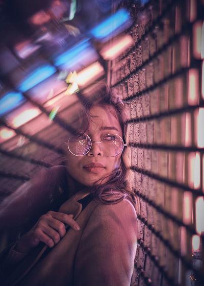 Model: Oleander Omega - Instagram: @oleandrega City Nights Cocktail London Portrait Of A Woman Reflection Neon Red Light The Portraitist - 2018 EyeEm Awards