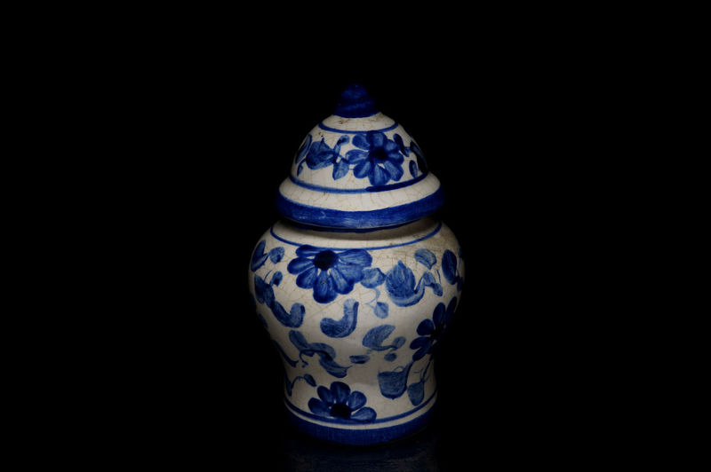 Ancient Antique Black Background Chinese Vase Close Up Container Floral Pattern Light Box Light Tent Low Key Porcelain  Pottery Still Life