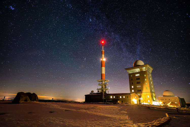 Brocken Milchstraße Architecture Astronomy Brocken Building Exterior Built Structure Constellation Galaxy Germany Harz Harzmountains Illuminated Lighthouse Milky Way Moon Nature Night No People Outdoors Sky Snow Space Space Exploration Star - Space
