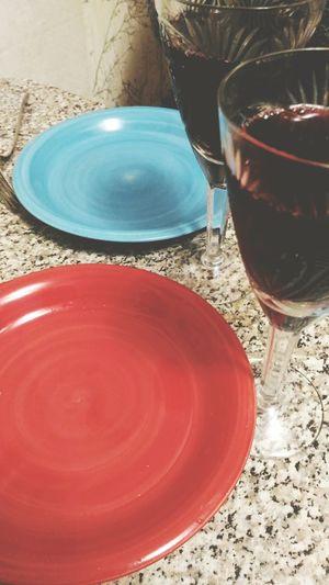 Dinnertime! Dinner With Friends Dinner Time Dinner Dinnertime Dinner Tonight Plates Plate Redplate Blueplate Wine Wineglass Wine Time Wine Glass Winetasting Wine Not