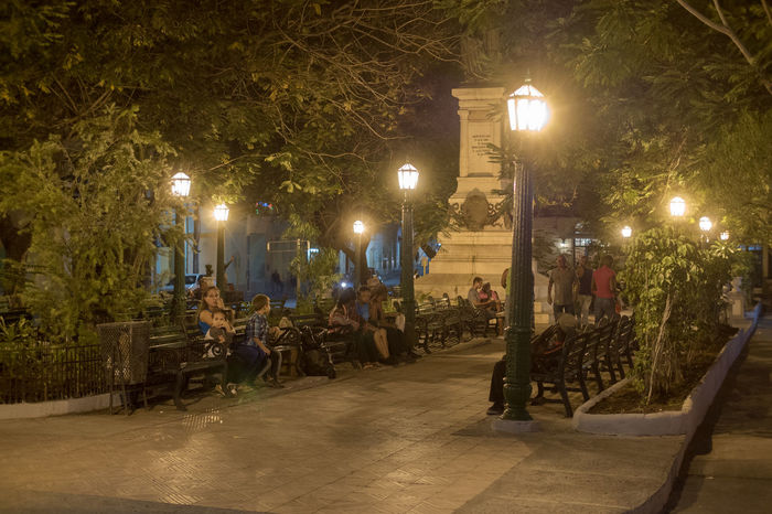 Cuba, noviembre 2016; new and updated photos WIFI Zone Architecture Benches Built Structure Illuminated Large Group Of People Lighting Equipment Men Night Outdoors Park - Man Made Space People Real People Street Light Tree
