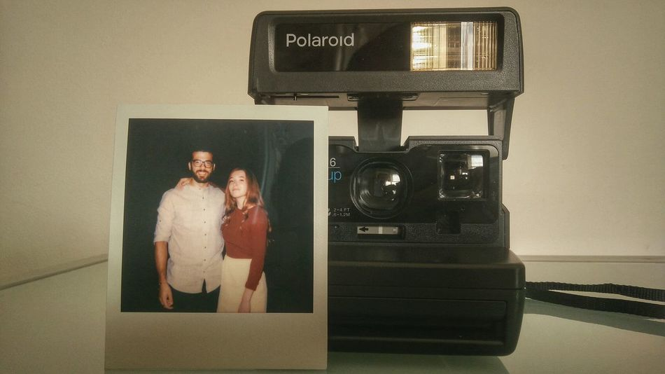 Vintage photos.. Polaroid 636 Old Vintage Women Cheerful Togetherness Technology Standing Old-fashioned Happiness