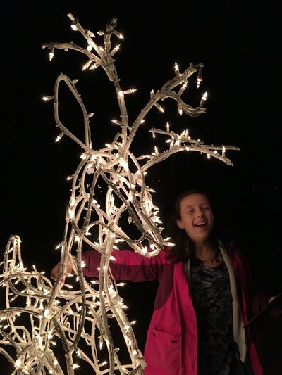 Laughing all the way ... ✨💡🦌💡✨😃 Tadaa Community Night One Person Celebration Front View Leisure Activity Winter Capture Tomorrow Happiness Christmas Light Smiling Illuminated