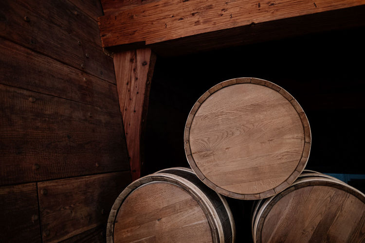 Full frame shot of wine barrels