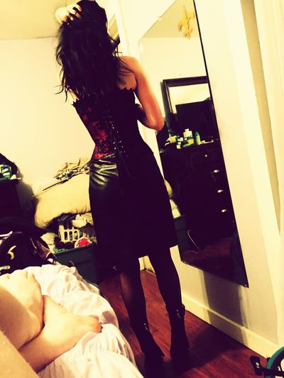 Corset Waist Training Leather Skirt  Leather getting ready for a hot date