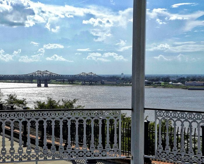 Outside Outdoors Natchez Hanging Out Taking Photos Beautiful Mighty Mississippi Clouds And Sky Water River Mississippi River Bridge Mississippi River Bridge View Bridge Riverscape River Bridge Over Look Look Out Breathtaking View Nature VS Man