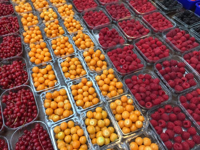 Full Frame Shot Of Various Fruits For Sale At Market Stall